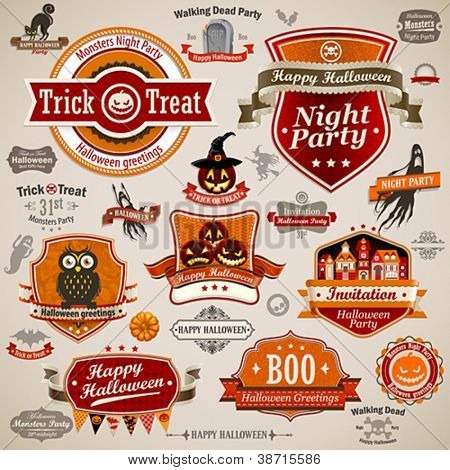 Halloween vintage set - labels, ribbons and other decorative elements. Vector illustration.
