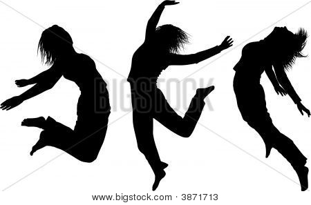 Some Silhouettes Of Jumping Girls