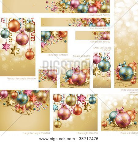 Collection of Christmas vintage banners with baubles and place for text. Check my portfolio for vector version.