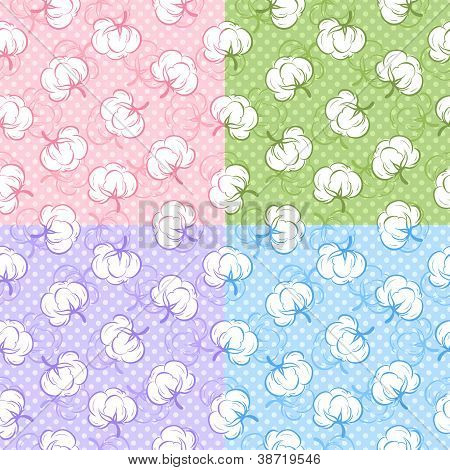 Seamless patterns with cotton buds