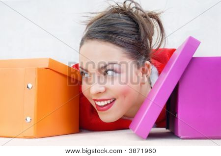 Happy Lady With Gift Boxes