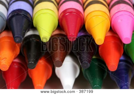 Colorful Macro Shot Of The Tips Of Crayons