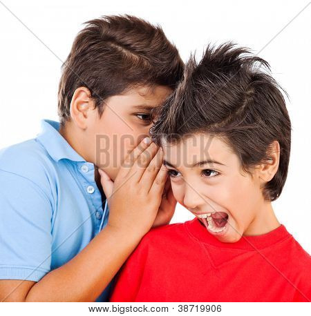 Excited gossip boys isolated on white background, best friends whispering about some secret, brunette kid listening news with open mouth, children talking and expressing surprise, teens play games