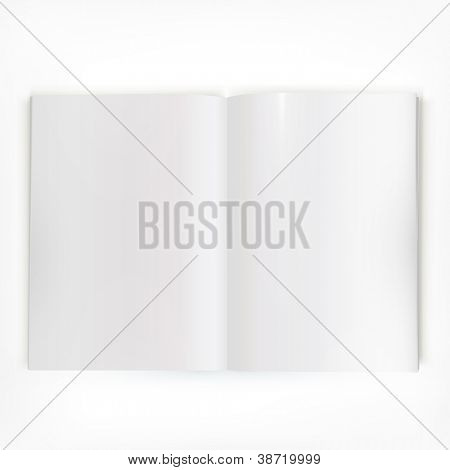 Open white glossy catalog double-page spread with clean blank pages.