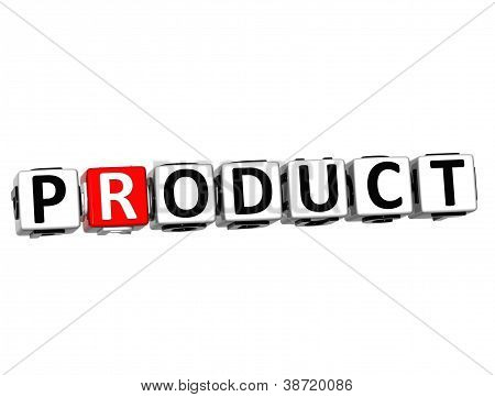 3D Product Button Click Here Block Text
