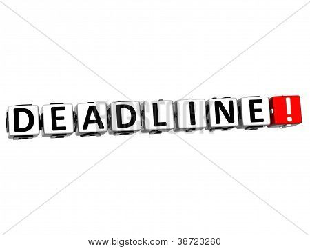 3D Deadline Button Click Here Block Text