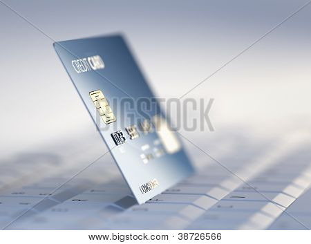 Credit Card on Computer Keyboard - 3d rendered with high differential focus