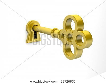 3D render of a golden key on keyhole.