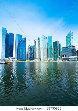 Skyline of Singapore business district Marina Bay.
