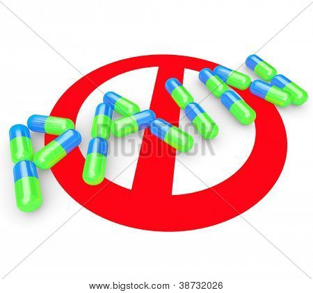 The word Pain spelled out in pills or capsules with the No symbol behind it to represent alleviating painful feeling