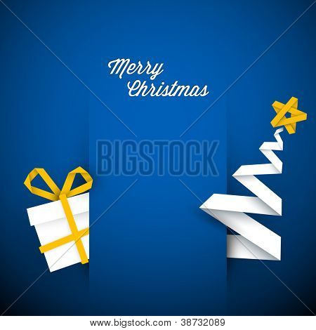 Simple vector blue christmas card with gift and tree made from paper stripe