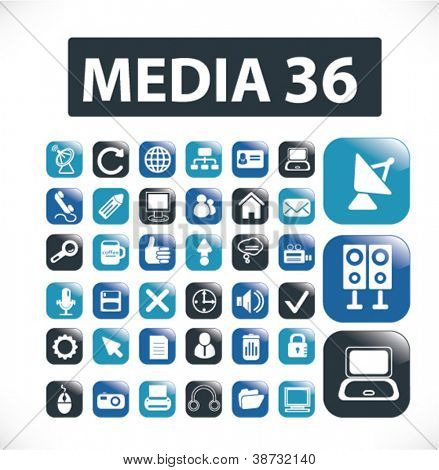 media & application glossy buttons set, vector