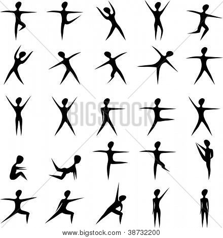 Set of stylized fitness women exercise silhouettes