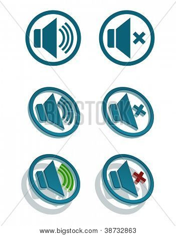 Vector set of simple speaker icons