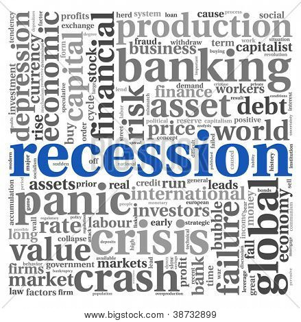 Recession and crisis concept in wort tag cloud on white background