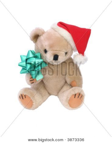 Xmas Bear With Green Bow