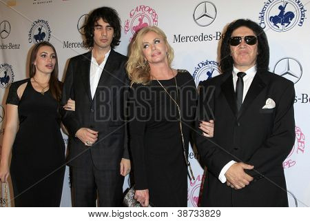 LOS ANGELES - OCT 20:  Sophie Simmons, Nick Simmons, Shannon Tweed, Gene Simmons arrives at  the 26th Carousel Of Hope Ball at Beverly Hilton Hotel on October 20, 2012 in Beverly Hills, CA
