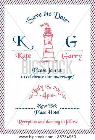 Wedding Marine Invitation Card - in vector