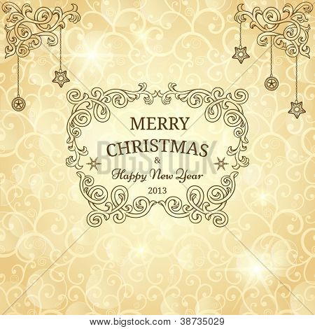 Christmas greeting card with golden background