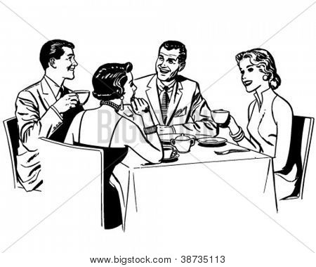 Paare, Restaurants - Retro Clipart Illustration