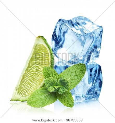 Ice cubes and mint leaves on a white background