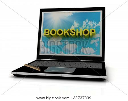 Bookshop Sign On Laptop Screen