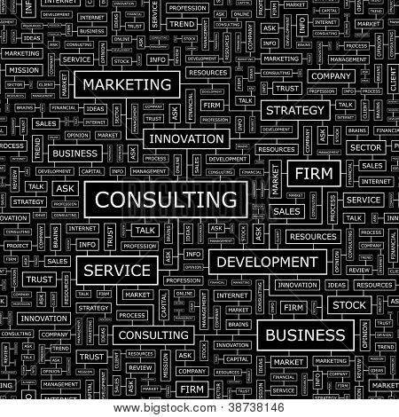 CONSULTING. Seamless vector pattern. Word collage. Vector illustration.