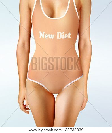 woman in underwear with perfect shape, diet oneself