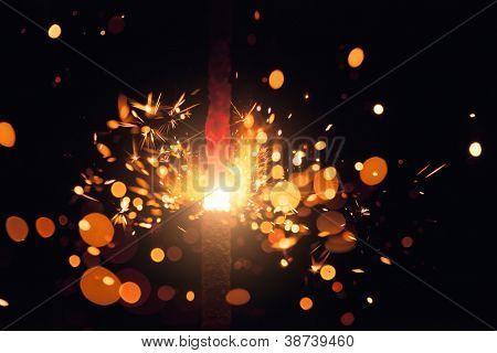 christmas sparkler with shiny glare