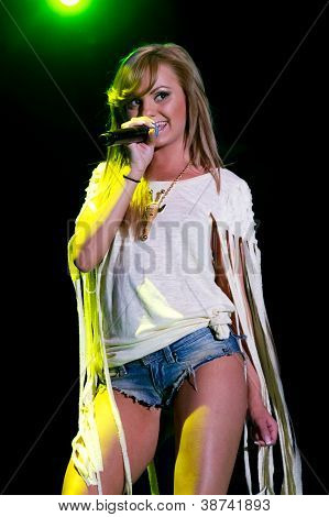 Milan, Italy - May 26: Alexandra Stan Performing Mr. Saxobeat In Piazza Duomo During The Concert To