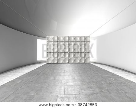 Abstract indoor futuristic indoor with acoustic wall with circles