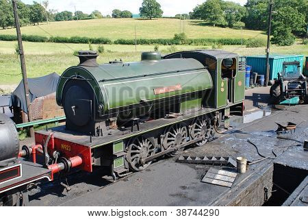 ROLVENDEN, ENGLAND - AUGUST 20: Austerity class 0-6-0 steam locomotive Holman F. Stephens on August 20, 2012 at Rolvenden, Kent. Built in 1952, it is now operates on the Kent and East Sussex Railway.