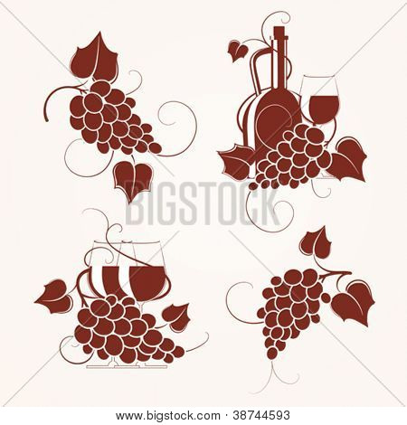 Set of grape design element. Vector illustration