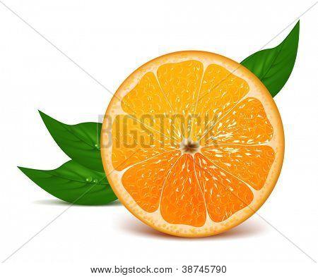 Juicy half of orange with leaves