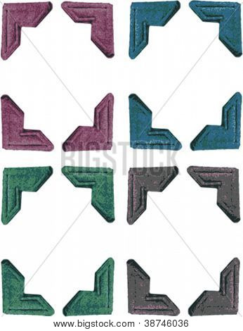 Set of Four Colored Photo Corners isolated on white - vector