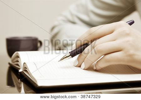 Female hand writing in a notebook