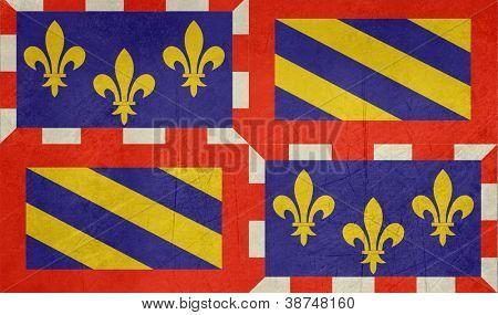 Grunge illustration of French province of national state of Bourgogne, France.