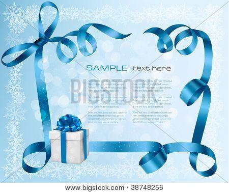 Urlaub-Hintergrund mit blue Geschenk-Schleife mit Geschenkboxen. Vektor-Illustration.