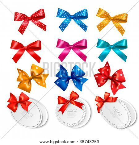 Big collection of colorful gift bows and labels. Vector illustration