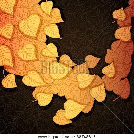 Autumn leaves banner made of fancy paper, vector eps8 illustration