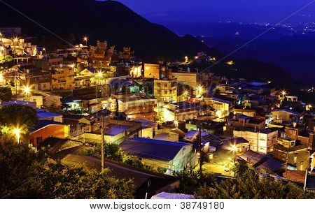 jiu fen village at night, in Taiwan