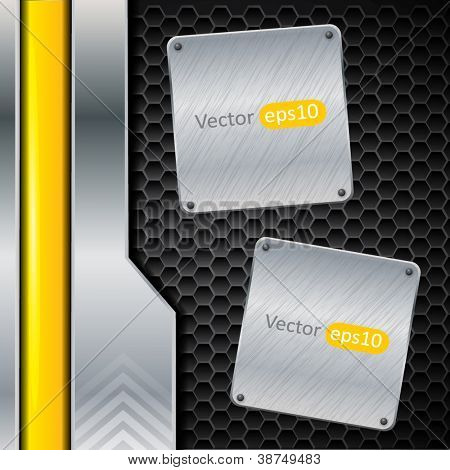 Metallic vector background with panels for your content