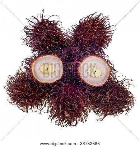 Exotic rambutan fruit on white background