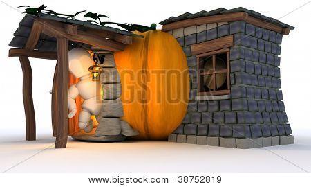3D Render of Man in Halloween Pumpkin Cottage