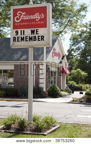 MORRIS PLAINS, NJ - SEPT 11: A sign in front of Friendly's Restaurant pays tribute to the victims of the 2001 terror attacks reads 911 We Remember on September 11, 2012 in Morris Plains, NJ.