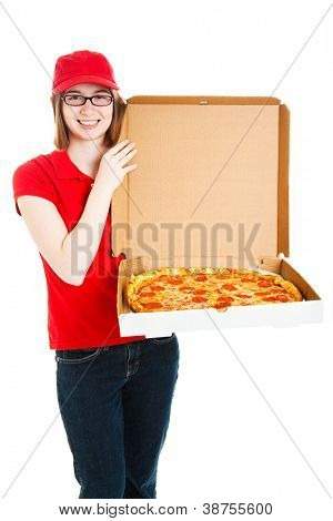 Pretty pizza delivery girl showing off a delicious looking pepperoni pizza.  Isolated on white.