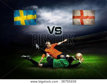 Friendly soccer match between Sweeden and England