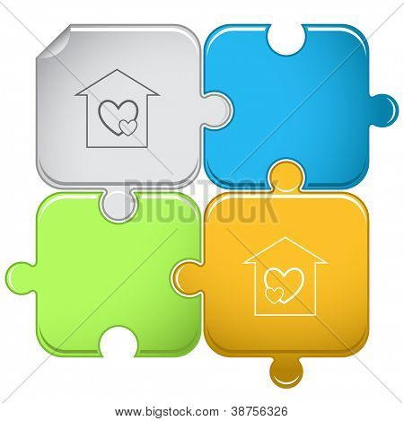 Orphanage. Raster puzzle. Vector version is in portfolio.