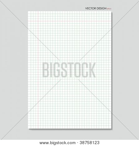 White squared paper sheet background, vector illustration.