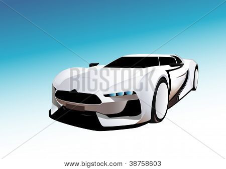 White sport car in blue background